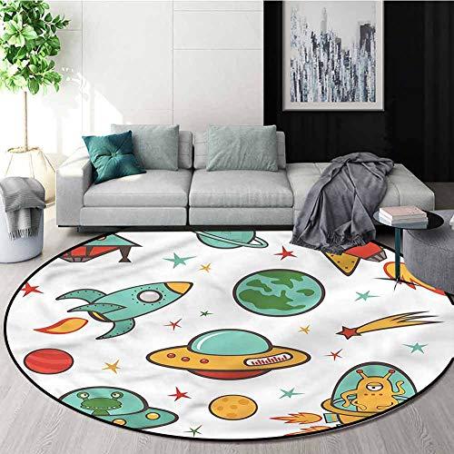 RUGSMAT Kids Anti-Skid Area Rug,Rocket Space Ship UFO Design Kids Teepee Tent Game Play House Round Diameter-39