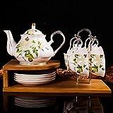ZQJKL Clásico Floral Servicio De Té para Adultos Juegos De Té De Porcelana Británica Juego De Tazas De Té y Platillo China Sistema De Regalo del Café De La Porcelana con Portavasos Estar,I
