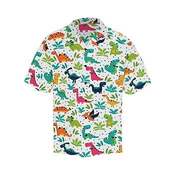 InterestPrint Men s Casual Button Down Short Sleeve Cartoon Dinosaurs Hawaiian Shirt XL