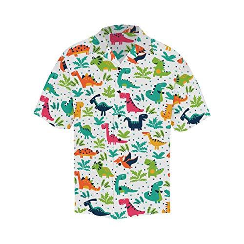 InterestPrint Men's Casual Button Down Short Sleeve Cartoon Dinosaurs Hawaiian Shirt XL