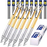 6 Pieces Metal Mechanical Pencils 0.3 mm, 0.5 mm and 0.7 mm Automatic Mechanical Pencils Writing Pencils, 9 Tubes HB Pencil Leads and 2 Pieces Erasers for Writing Draft, Drawing, Sketching (Golden)