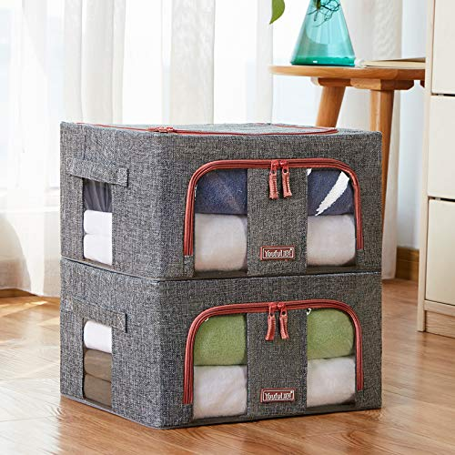 Moonday Zipped Storage Organiser Box, Huge Capacity Thick Nonwoven Bag for Bedding, Comforters, Blankets, Duvets, Clothes, Fordable Steel Frame(Twin Pack) (Grey, 66 Litre)