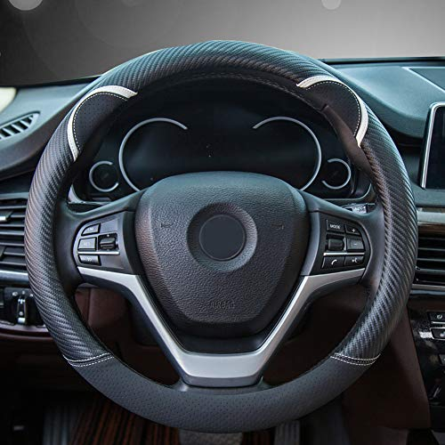 Alusbell Cute Carbon Fiber Steering Wheel Cover Synthetic Leather Auto Car Steering Wheel Cover for Women Universal Fit 15 Inch (Black)