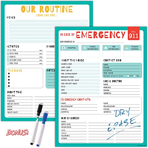 Babysitter Info Sheet Dry-Erase Posters - 2 Pack of Babysitter Notepad Posters Includes Babysitter Emergency Info, Household Routine, and 2 Markers. Babysitting Supplies are 13x17 inches. Made in USA.