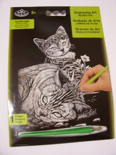 Royal & Langnickel Engraving Art Silver Foil ~ Tabby Cat & Kitten