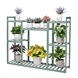 unho 8 Potted Garden Plant Stand Bamboo Flower Pots Holder 4 Tier Dispaly Shelves Rack for Balcony Deck Yard Lawn Indoor Outdoor (Bluish)