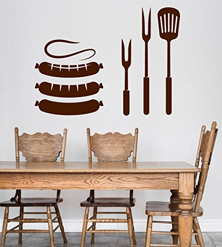 BorisMotley Wall Decal Sausages and Tools Barbecue Vinyl Removable Mural Art Decoration Stickers for Home Bedroom Nursery Living Room Kitchen