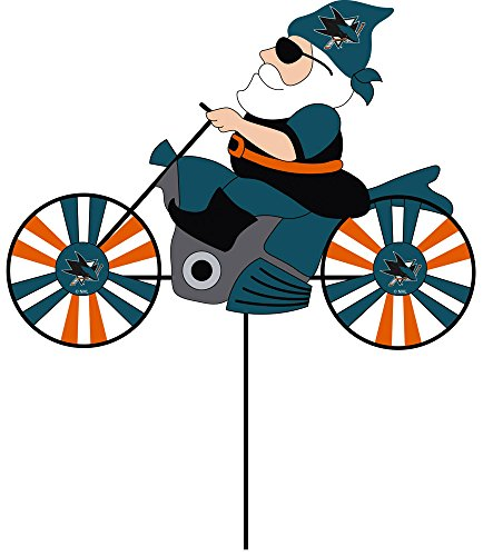 Team Sports America San Jose Sharks Motorcycle Riding Garden Gnome Wind Spinner