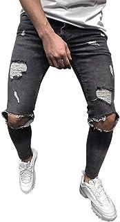UJUNAOR - Jeans da uomo alla moda, aderenti, elasticizzati, con piedi strappati