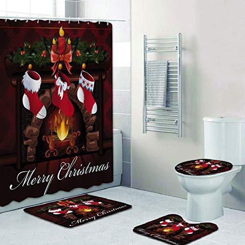4 Stück Weihnachtsthema Duschvorhang Sets mit rutschfestem Teppich, Toilettendeckel & Badematte, Frohe Weihnachten Urlaub Duschvorhang mit Haken, wasserdichter Badvorhang Weihnachtsbad Dekoration