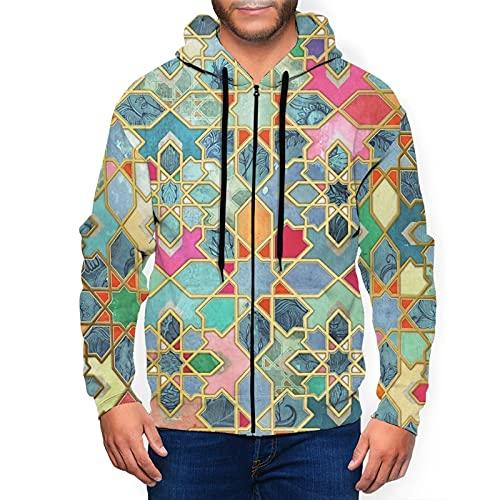 Sudadera con capucha para hombre con cremallera completa con capucha y diseño clásico con capucha, Honeycomb Cubes - Gráficos bohemios, color negro, XXXL