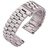 Nostalgie Correa de Reloj Banda de Reloj de Acero Inoxidable Pulsera Mujeres Hombres Silver Silver Metal Reloj Correa 16mm 18mm 20mm 21mm 22mm Accesorios Reemplazo (Color : Silver, tamaño : 21mm)