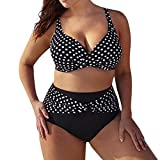 QinMM Bikini de Punto Trajes de baño para Mujer Talla Grande, Push up Playa de Verano Bañador (Negro, 3XL)