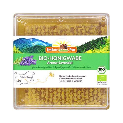 ImkerPur BIO Honingraat (aromatische lavendel), rauw en onbehandeld, in de voedselveilige verse doos, de meest natuurlijke manier om van honing te genieten