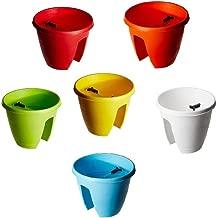 Truphe Railing Pots, Railing Planters In Bright Multi Colors (Set Of 6)