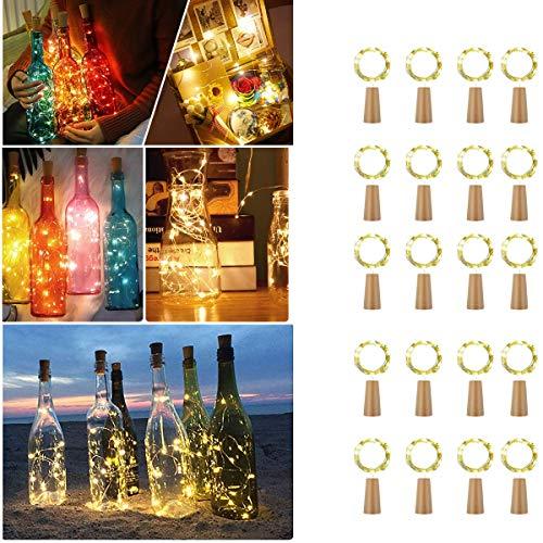 【20Stück】 20 LEDs Flaschen Licht, VIFLYKOO Lichterkette für Flasche LED Lichterketten Stimmungslichter Weinflasche Kupferdraht, Batteriebetriebene für Flasche DIY, Dekor,Weihnachten - Warmweiß