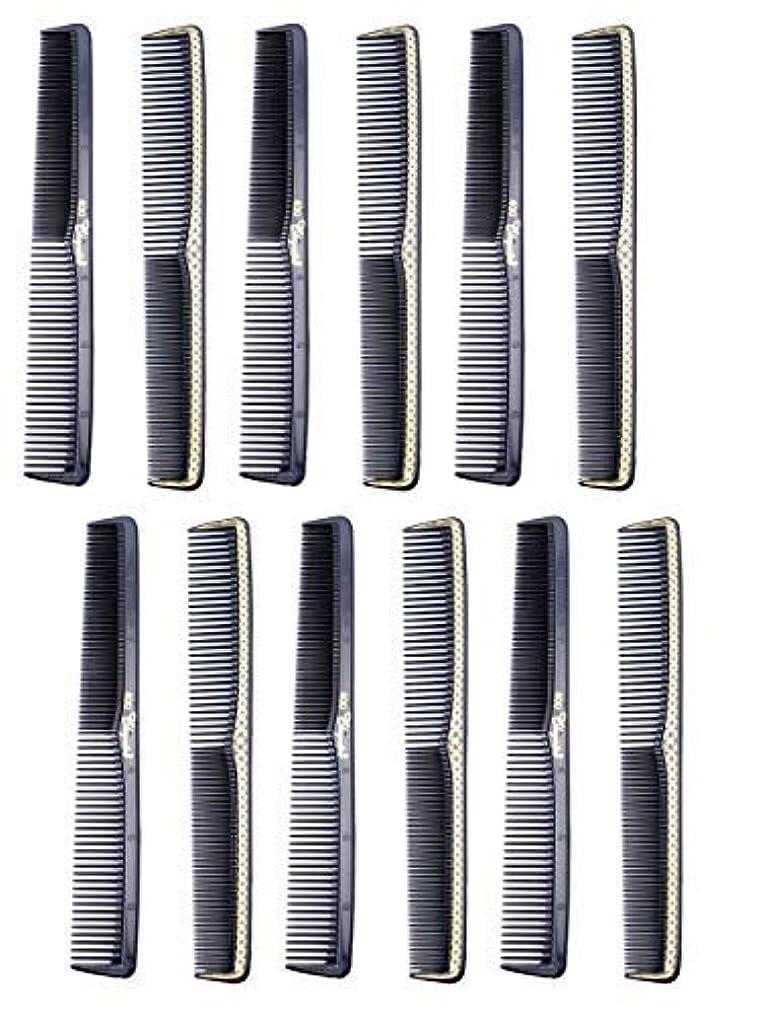 行政火炎宿泊7 inch All Purpose Hair Comb. Hair Cutting Combs. Barber's & Hairstylist Combs. Black With Gold. 12 Units. [並行輸入品]