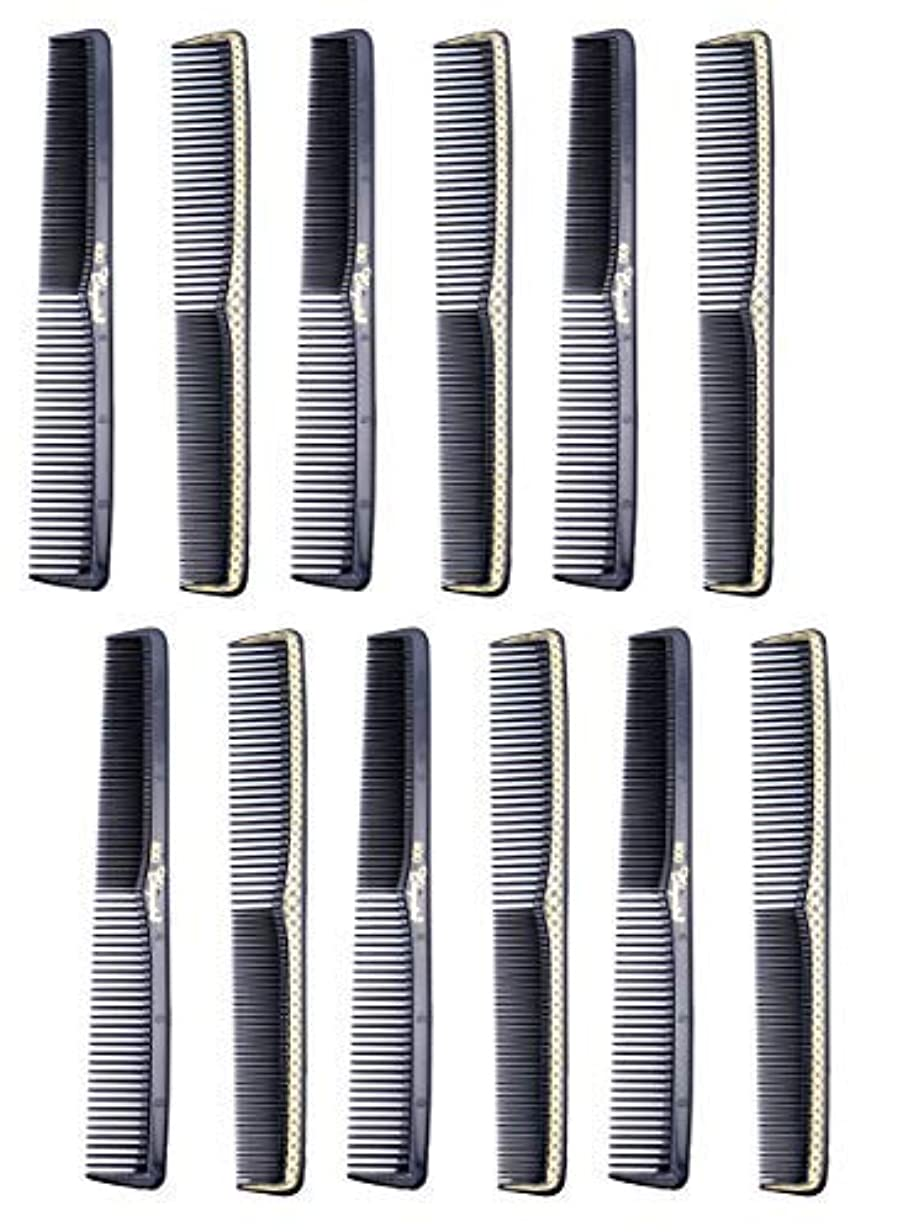 要求するエッセイ未就学7 inch All Purpose Hair Comb. Hair Cutting Combs. Barber's & Hairstylist Combs. Black With Gold. 12 Units. [並行輸入品]