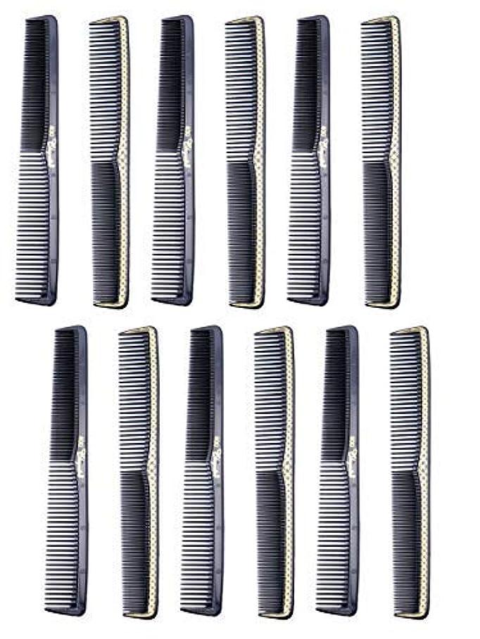 里親動詞部分的に7 inch All Purpose Hair Comb. Hair Cutting Combs. Barber's & Hairstylist Combs. Black With Gold. 12 Units. [並行輸入品]