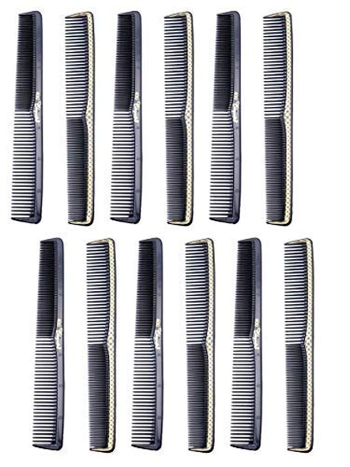 トリクル牧師電極7 inch All Purpose Hair Comb. Hair Cutting Combs. Barber's & Hairstylist Combs. Black With Gold. 12 Units. [並行輸入品]