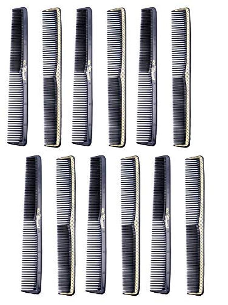 最大チャット円形7 inch All Purpose Hair Comb. Hair Cutting Combs. Barber's & Hairstylist Combs. Black With Gold. 12 Units. [並行輸入品]