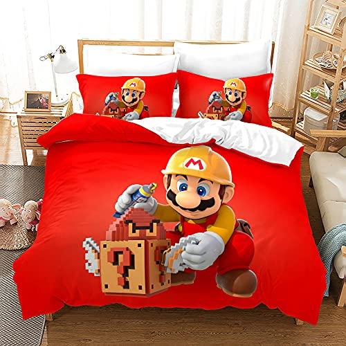 Super Mario Juego de Ropa de Cama Infantil - Impresión Digital 3D Mario Anime, Juego de Colcha para Cama 90 150x220 3 Piezas Microfibra con Cremallera