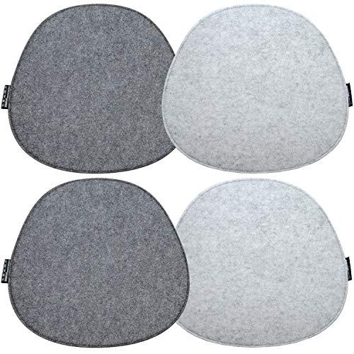 DuneDesign 4 Filz Sitzkissen Oval 40x37cm Stuhlkissen Sitzauflage 8mm Hellgrau Grau