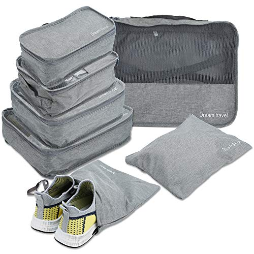 Intirilife 7-piece Travel Bag Set in GREY – Suitcase Set with Jute Bag, Wash Bag and 5 Organizers in different Sizes for Travel, Holidays etc. – Organiser Luggage Packing Cloth Shoes