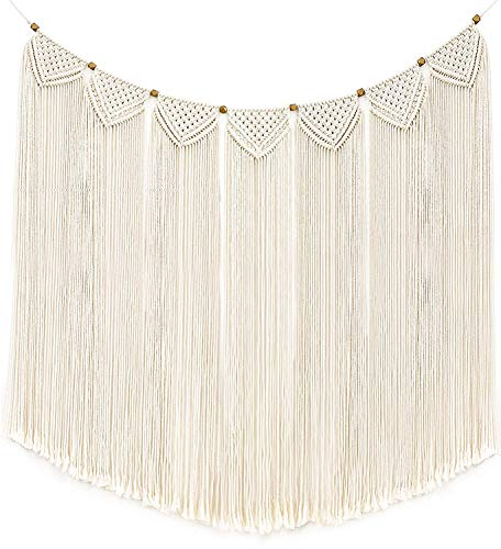 Mkouo Macrame Wall Hanging Tapestry Fringe Garland Banner Cotton Woven Wall Decor for Living Room Bedroom Wedding Party Decoration, 119cm(L) X 71cm(W)