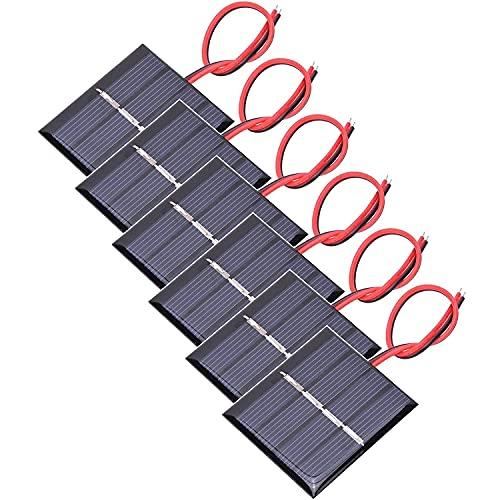 GTIWUNG 6 Piezas 3V 0.3W 65 X 48mm Micro Mini Células de Panel Solar, Mini Placas Solares para Energía de Energía Solar, Hogar DIY, Proyectos Científicos - Juguetes - Cargador de Batería