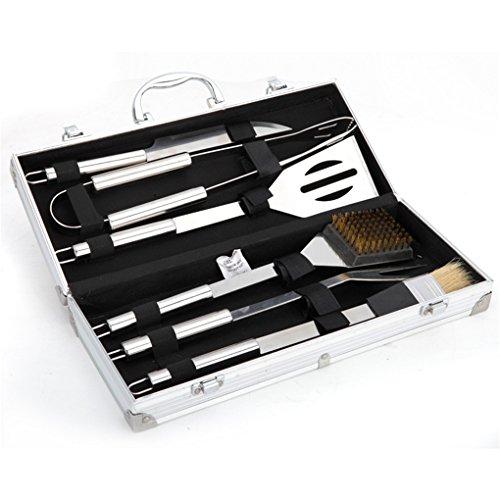 Holzsammlung® Posate per barbecue in acciaio INOX con...