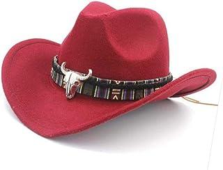9db86c6447df1 Forart Mens Womens Wool Felt Western Cowboy Hat Outdoor Wide Brim Hat Caps  with Strap