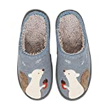 Tuiyata Women Cute Squirrel Animal Home Slippers Warm Memory Foam Cotton Wide House Slippers for Girls Mens, Soft Plush Fleece Slip On House Slippers Shoes Indoor Outdoor Navy Grey
