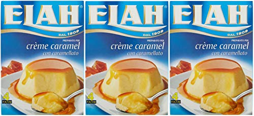 Elah - Preparato per Crema da Tavola. 12 porzioni. 3 confezioni da 4 porzioni (CREME CARAMEL)
