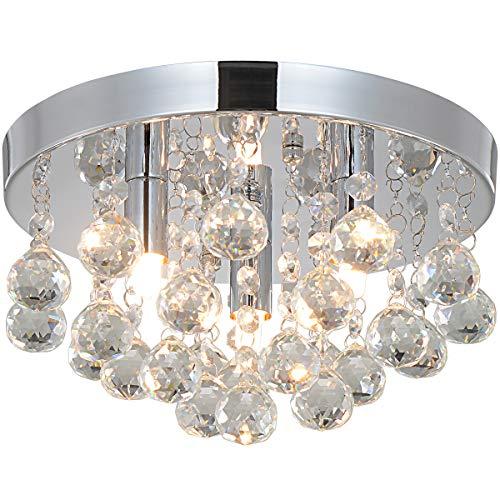 Natsen® LED Kristall Deckenleuchte Deckenlampe Hängeleuchte 3-flammig Ø 25cm G9 Lieferung ohne Leuchtemittel [Energieklasse A++]