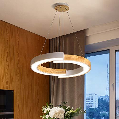 LED 42W warm licht 3000K hanglamp wit metaal en hout ring hoogte verstelbare ophanging aan het plafond lampen woonkamer/eetkamer/eettafel/slaapkamer, 58 * 53cm