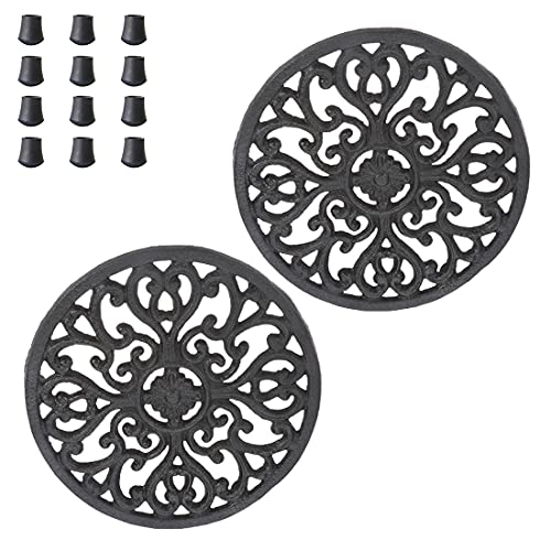 Cast Iron Trivet for Hot Pots and Pans, VIDAYA Decorative Round Trivet Mat Hot Pot Holder Pads with Vintage Pattern and 12 Pcs Rubber Pegs/Feet for Rustic Kitchen Counter or Dining Table (2 Pack)