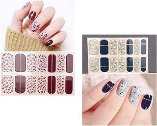 10 Sheets Different Design Full Nail Art Polish Stickers Strips Self-Ashesive False Nail Design Manicure Set Nail Buffers Files Women Girls