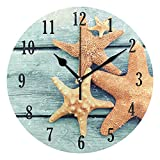 Reloj de pared redondo con diseño de estrella de mar en tablón de madera azul, redondo, silencioso y funciona con pilas, fácil de leer, para decoración de interiores, sala de estar, dormitorio