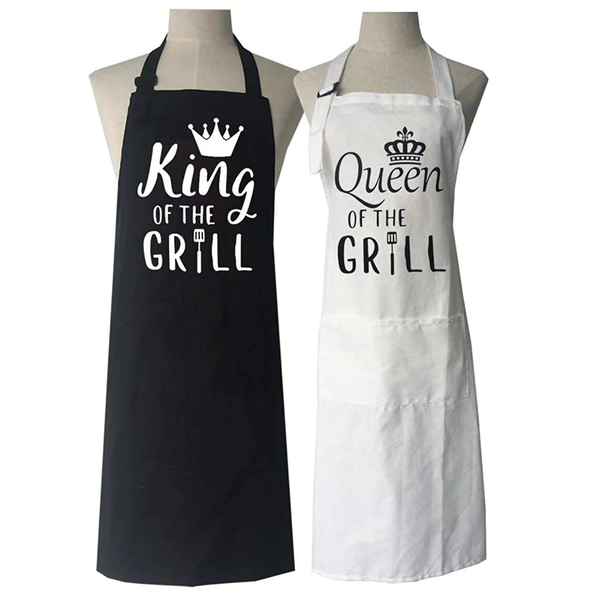 DAMOR His and Hers Gifts for Newlyweds Engagement Wedding Anniversary Bridal Shower,Couples Aprons,King and Queen of The Grill Apron,Couple Aprons,Funny Cooking Bibs