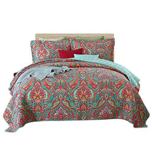 Qucover Paisley Tagesdecke 220x240cm Gesteppte Decke Boho Stil Sofaüberwurf Bettüberwurf mit Kissen Set aus Baumwolle & Polyester