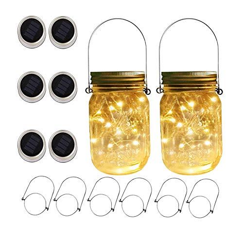 Upstone Solar Mason Jar Deckelleuchte – Gartenlicht, Weglicht, Hochzeitslicht, Solarlicht, Laterne, Mason Jar Light warmweiß
