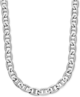 925 Sterling Silver 3.5MM, 4.5MM, 5.5MM, 6.5MM, 8MM Solid Flat Mariner Link Chain Necklace- Sterling Silver Necklace Chain 18