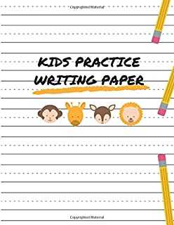 Kids Practice Writing Paper: Blank Handwriting Sheets With Dash Center Line For Kids Learning Penmanship - Large 8.5