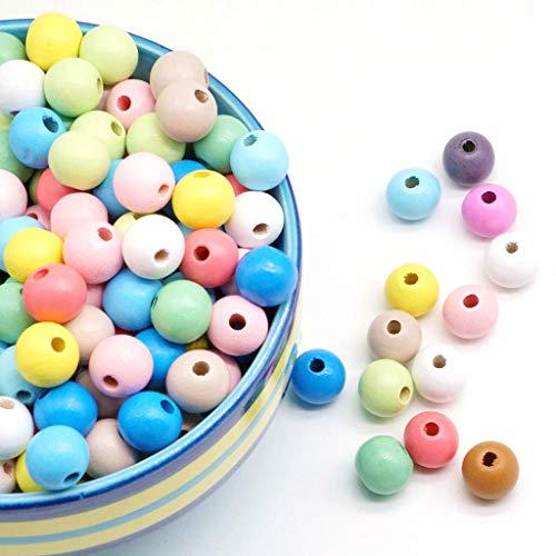 Feelairy Bunte Holzperlen, 400stk Runde Holz Perlen zum Auffädeln 10 mm Basteln Perlen Pastell Perlen Gemischte Farbe mit Loch für DIY Armbänder Schmuck Handwerk