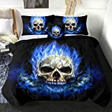 Sleepwsih Skull Comforter Set Blue Fire Skull Bedding Sets with Comforter Boys 4 Piece Ghost Skeleton Bed Set with 2 Pillow Shams and 1 Cushion Cover (Queen)