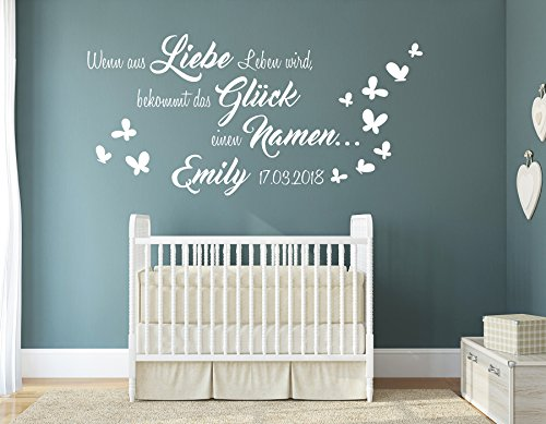 tjapalo® w-pkm397 Wandtattoo Kinderzimmer mit Wandspruch und Namen Wenn aus Liebe Leben wird, bekommt das Glück einen Namen (B58 x H28 cm)