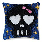 CZVEVOY 3D Embroidery Pillow Case Latch Hook Rug Kits Yarn Handmade Embroidery Skull Printed Cushion Cover,Black