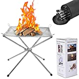Portable Fire Pit Outdoor Foldable Firepit Stainless Steel Mesh Fireplace Firepits 16.5 Inch Camping Fire Bonfire Pit for Backyard, Patio, Garden, Picnic, Wood Burning, Carrying Bag Included