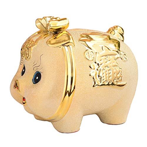 Huchas Con Forma De Cerdo Dorado, Decoración del Hogar, Cerámica, Regalos De Boda De Apertura De Cerdo De La Suerte para Niños (Dorado) (Color : Gold, Size : 20 * 18 * 17.5cm)